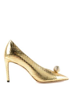 JIMMY CHOO: scarpe décolleté - Décolleté metallizzate Sadira 85 in elaphe