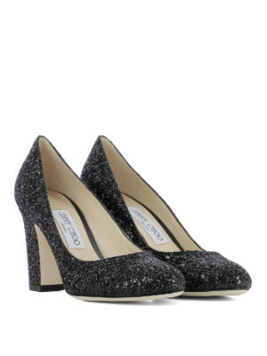 Jimmy Choo: court shoes online - Billie 85 black glitter pumps