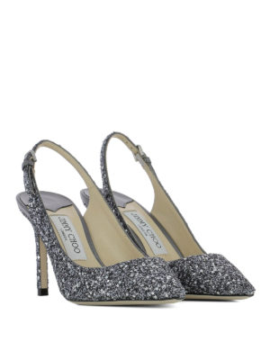 Jimmy Choo: court shoes online - Erin 85 glitter slingbacks