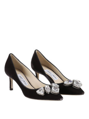 Jimmy Choo: court shoes online - Marvel velvet pumps with crystals