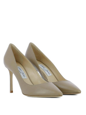 Jimmy Choo: court shoes online - Romy 85 beige leather pumps