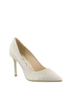 Jimmy Choo: court shoes online - Romy 85 platinum glitter pumps