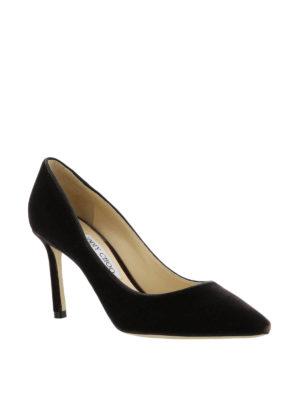 Jimmy Choo: court shoes online - Romy black velvet pumps