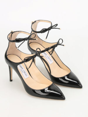 Jimmy Choo: court shoes online - Sage patent leather laced-up pumps