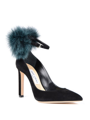 Jimmy Choo: court shoes online - South fur pom pom suede pumps