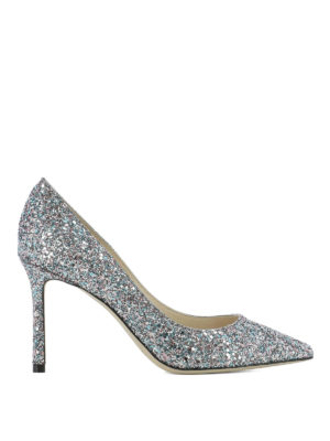 JIMMY CHOO: scarpe décolleté - Décolleté Romy 85 in glitter bubblegum mix