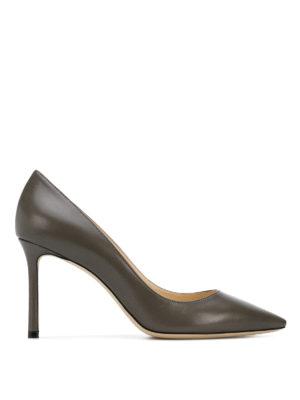 JIMMY CHOO: scarpe décolleté - Décolleté Romy 85 in pelle grigio scuro