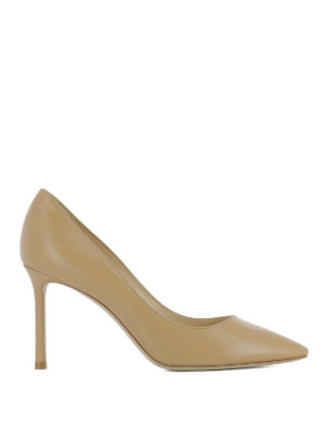 Jimmy Choo: court shoes - Romy 85 leather nude pumps