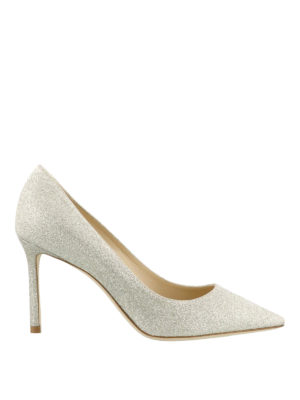 Jimmy Choo: court shoes - Romy 85 platinum glitter pumps