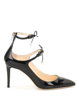 Jimmy Choo: court shoes - Sage patent leather laced-up pumps