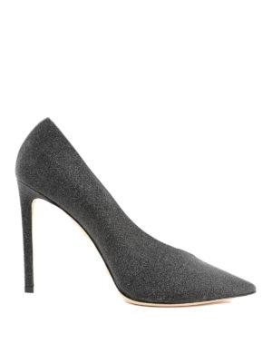 JIMMY CHOO: scarpe décolleté - Décolleté Sophia 100 in pelle glitterata