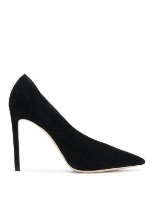 JIMMY CHOO: scarpe décolleté - Décolleté asimmetriche Sophia 100 in suede