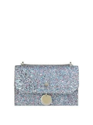 JIMMY CHOO: borse a tracolla - Tracolla Finley in tessuto glitter