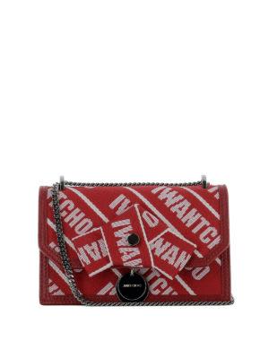 JIMMY CHOO: borse a tracolla - Tracollina Finley rossa in nastro logato