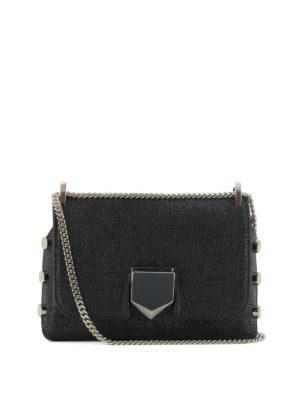JIMMY CHOO: borse a tracolla - Lockett Mini in tessuto nero
