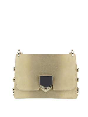 Jimmy Choo: cross body bags - Lockett Mini glitter suede bag