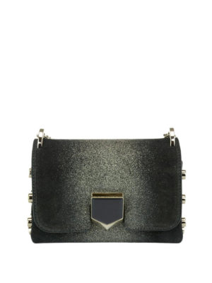 Jimmy Choo: cross body bags - Lockett Mini glittered black bag