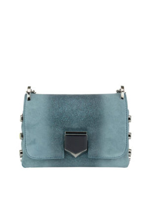 Jimmy Choo: cross body bags - Lockett Mini glittered suede bag