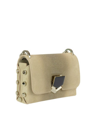 Jimmy Choo: cross body bags online - Lockett Mini glitter suede bag