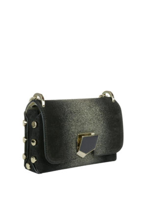 Jimmy Choo: cross body bags online - Lockett Mini glittered black bag