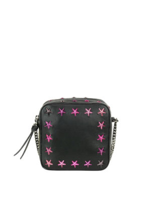 Jimmy Choo: cross body bags - Sunny crossbody with fuchsia stars
