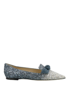 Jimmy Choo: flat shoes - Gabie Flat glittered suede flats