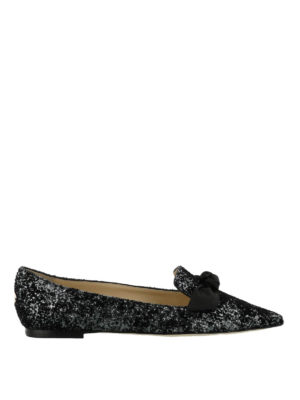 Jimmy Choo: flat shoes - Gabie Flat glittered velvet flats