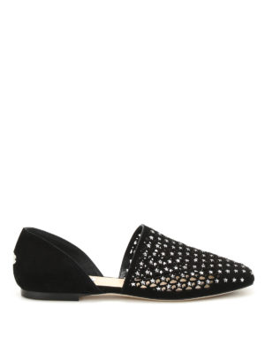 Jimmy Choo: flat shoes - Globe Flat suede and crystal flats