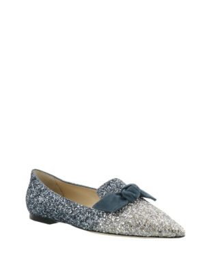 Jimmy Choo: flat shoes online - Gabie Flat glittered suede flats
