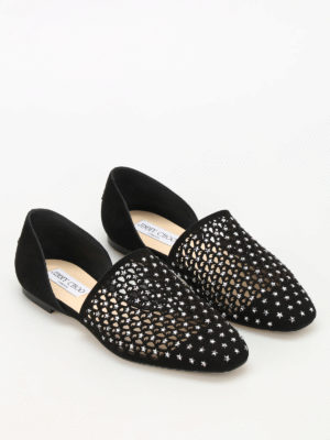 Jimmy Choo: flat shoes online - Globe Flat suede and crystal flats