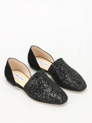 Jimmy Choo: flat shoes online - Globe Flat suede and glitter flats