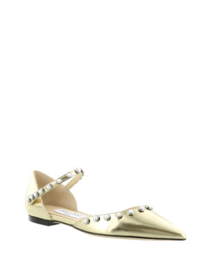 Jimmy Choo: flat shoes online - Leema mirrored leather pointy flats