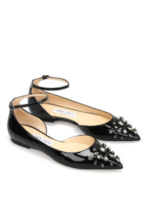 Jimmy Choo: flat shoes online - Lucy Flat jewel patent shoes