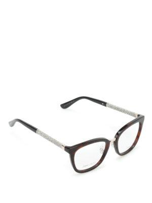 Jimmy Choo: glasses - Glittered temples tortoise glasses