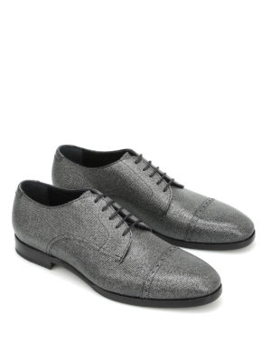 Jimmy Choo: lace-ups shoes online - Penn glittered leather Derby shoes