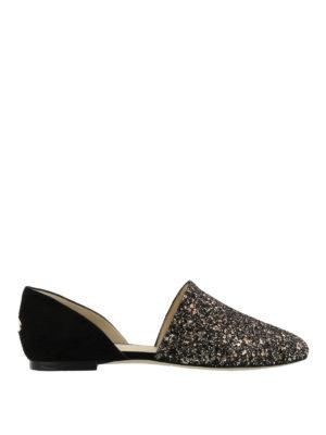 Jimmy Choo: Loafers & Slippers - Globe Flat glitter slippers