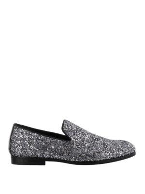 JIMMY CHOO: Mocassini e slippers - Mocassini Marlo glitter e vernice