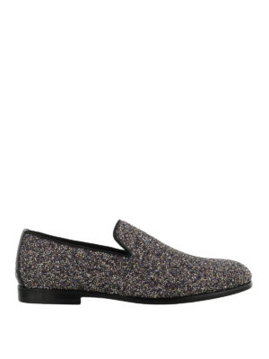 JIMMY CHOO: Mocassini e slippers - Mocassini Marlo in glitter twilight