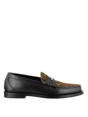 JIMMY CHOO: Loafers & Slippers - Mocca animal print loafers