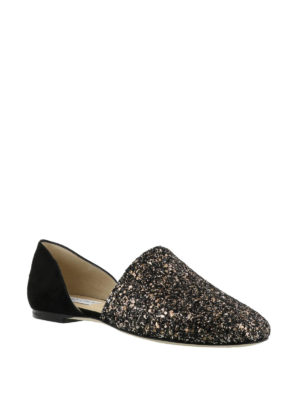 Jimmy Choo: Loafers & Slippers online - Globe Flat glitter slippers