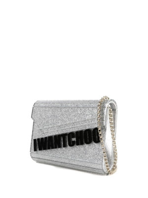 JIMMY CHOO: pochette online - Clutch Candy-I Want Choo in glitter argento
