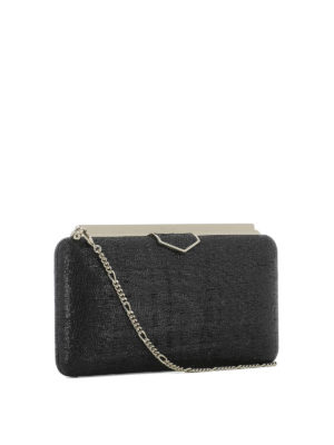 JIMMY CHOO: pochette online - Clutch Ellipse in tessuto nero