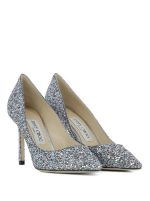 JIMMY CHOO: scarpe décolleté online - Décolleté Romy 85 in glitter bubblegum mix