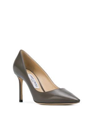 JIMMY CHOO: scarpe décolleté online - Décolleté Romy 85 in pelle grigio scuro