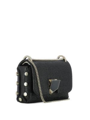 JIMMY CHOO: borse a tracolla online - Lockett Mini in tessuto nero
