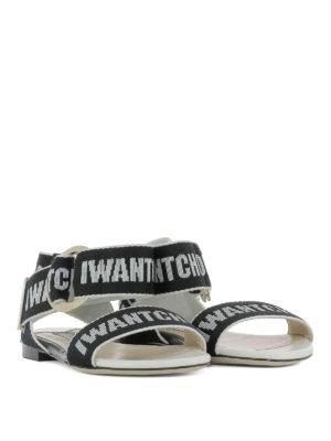 JIMMY CHOO: sandali online - Sandali Breanne con bande logo nero e gesso