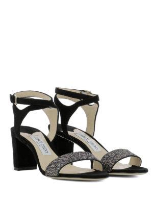 JIMMY CHOO: sandali online - Sandali Marine 65 con fascia glitter