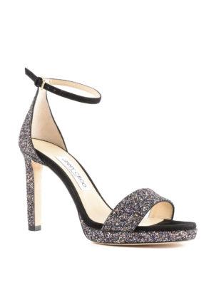 JIMMY CHOO: sandali online - Sandali Misty in glitter e suede