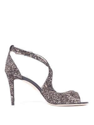 Jimmy Choo: sandals - Emily 85 glitter peep-toe sandals