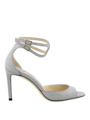JIMMY CHOO: sandali - Sandali Lane 85 in glitter argento